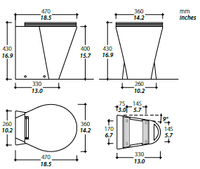 X Light technical drawing the x light is an original tecma design thetford marine thetford toilet wiring diagram at panicattacktreatment.co